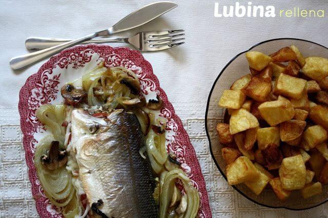 Mari Cocinillas - Lubina al horno con champiñones