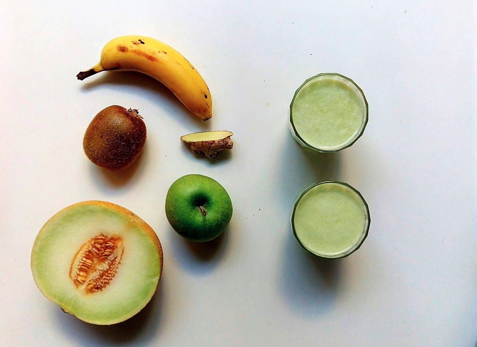 Licuado de melon, kiwi, platano, manzana y jengibre