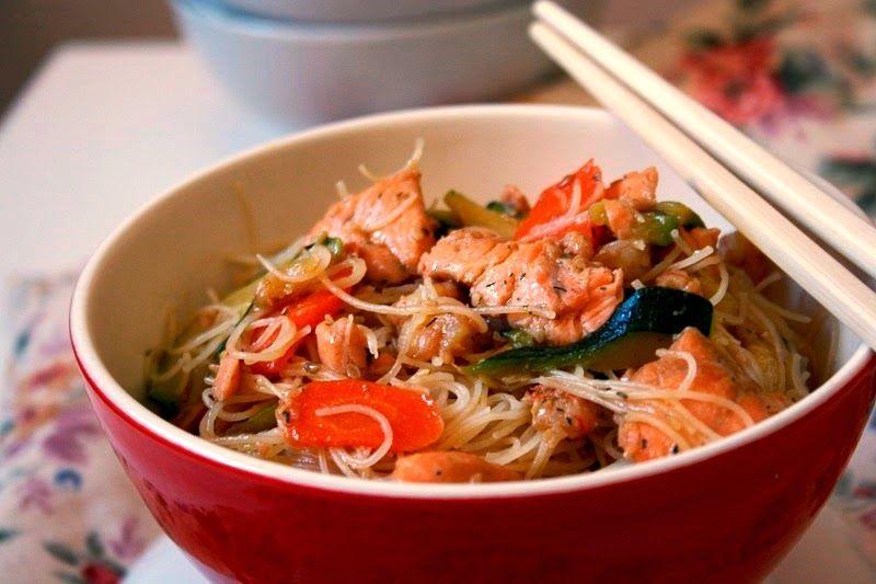 Noodles Con Salmon Fideos Chinos Las Maria Cocinillas