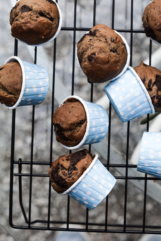 MAGDALENAS VEGANAS DE CHOCOLATE Y PLÁTANO / muffins veganos