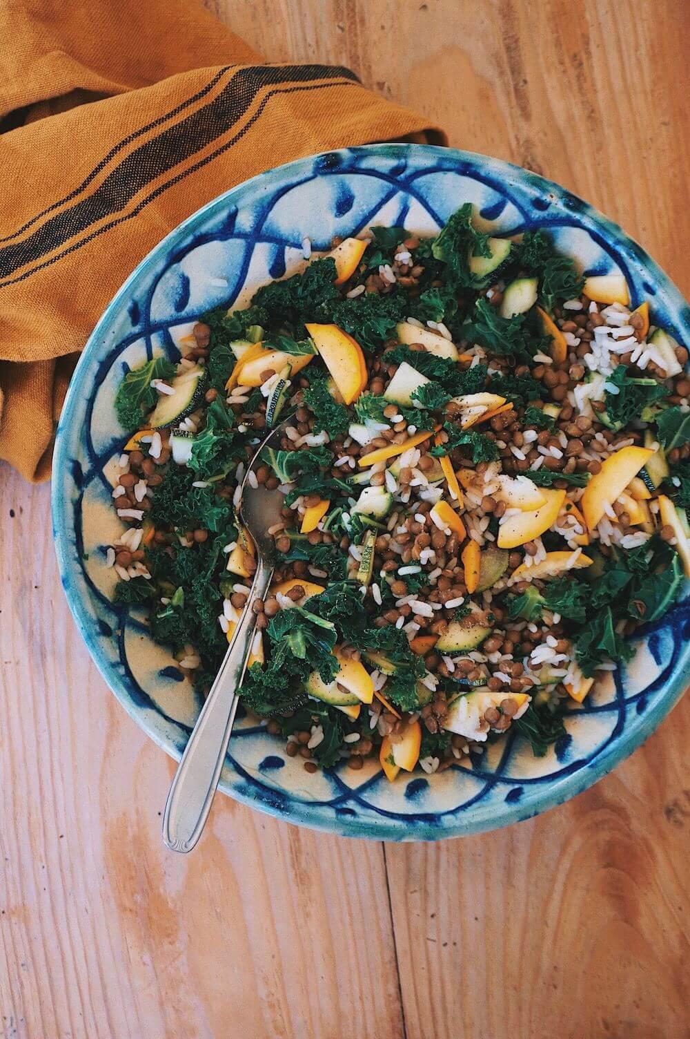 Ensalada de lentejas y kale