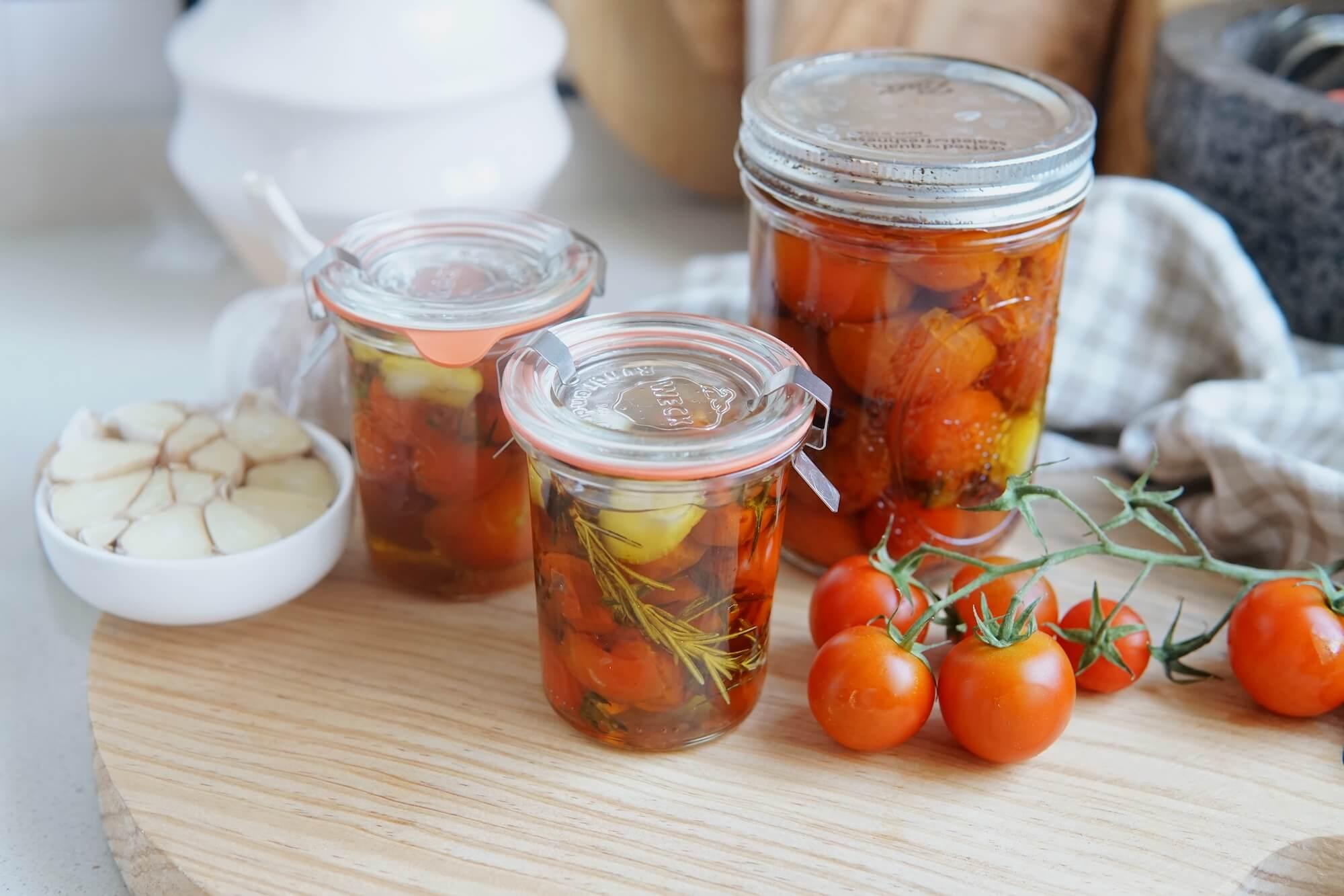 Tomates cherry confitados en sartén